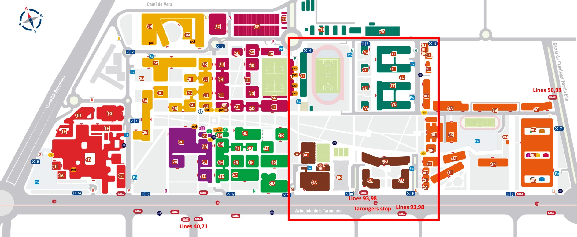 Map of the Universitat Politècnica de València